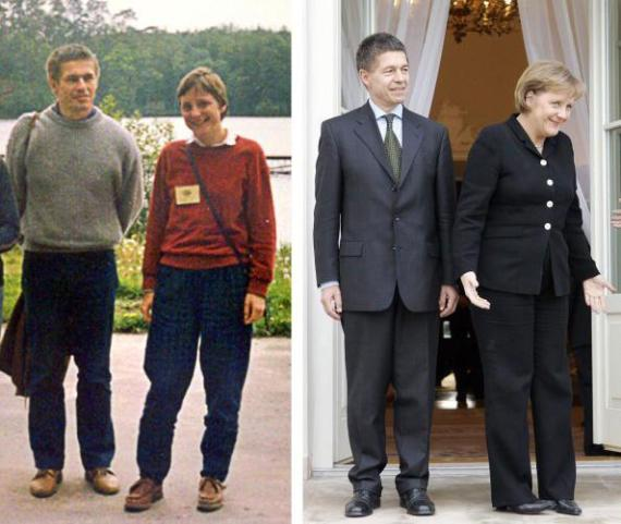 BACHOTEK, POLAND: Combo of a file picture (L) taken in 1989 in the northern Polish city of Bachotek shows Angela Merkel and her husband Joachim Sauer, the husband during summer school at a university for chemistry students, and a picture taken 16 March 2007 the presidential palace in Warsaw, taken when German Chancellor Angela Merkel and her husband met Polish President Lech Kaczynski. AFP PHOTO / Bogumil Jeziorski / JANEK SKARZYNSKI (Photo credit should read Bogumil Jeziorski/JANEK SKARZYNS/AFP/Getty Images)