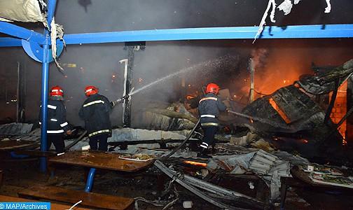 حريق مهول بسلا يأتي على محل لبيع الأفرشة وسيارتين دون خسائر في الأرواح