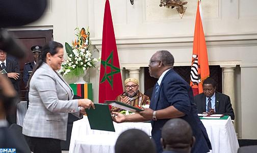 الملك ورئيس جمهورية زامبيا يترأسان مراسيم التوقيع على 19 اتفاقية للتعاون