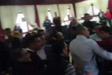 مواجهات بين أنصار ولد الرشيد وموالين لشباط بمقر حزب الاستقلال بالرباط + (فيديو و صور)