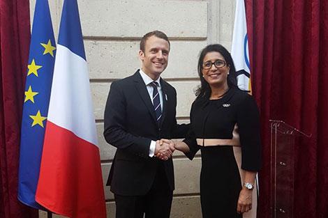 الرئيس الفرنسي ماكرون يستقبل نوال المتوكل بقصر الاليزيه