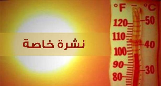 نشرة خاصة… موجة حر بدرجات قصوى قد تصل إلى 45 درجة بعدة مدن