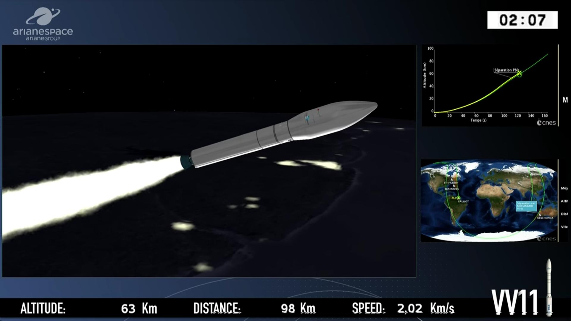 """بالفيديو… شاهد عملية إطلاق القمر الصناعي """"محمد السادس أ"""""""