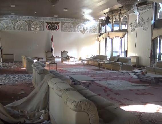 مقطع فيديو يظهر منزل عبد الله صالح بعد تفجيره