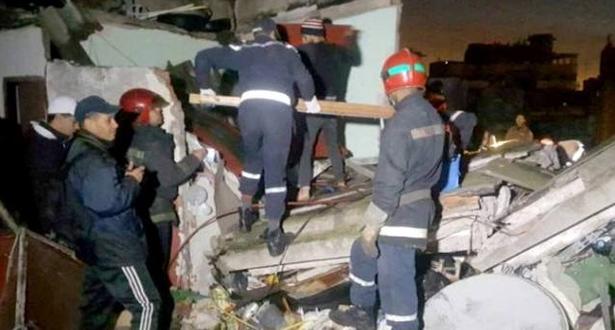 وفاة فتاة وإصابة توأمها في انهيار منزل بحي درب السلطان بالبيضاء