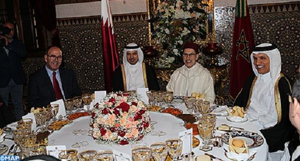 الملك محمد السادس يقيم مأدبة عشاء على شرف رئيس مجلس الوزراء ووزير الداخلية القطري
