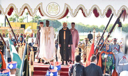 الملك يقيم حفل استقبال رسمي بالرباط على شرف رئيس جمهورية نيجيريا الفدرالية