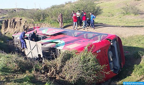 مصرع ثلاثة أشخاص وإصابة 37 آخرين بجروح في انقلاب حافلة بآسفي