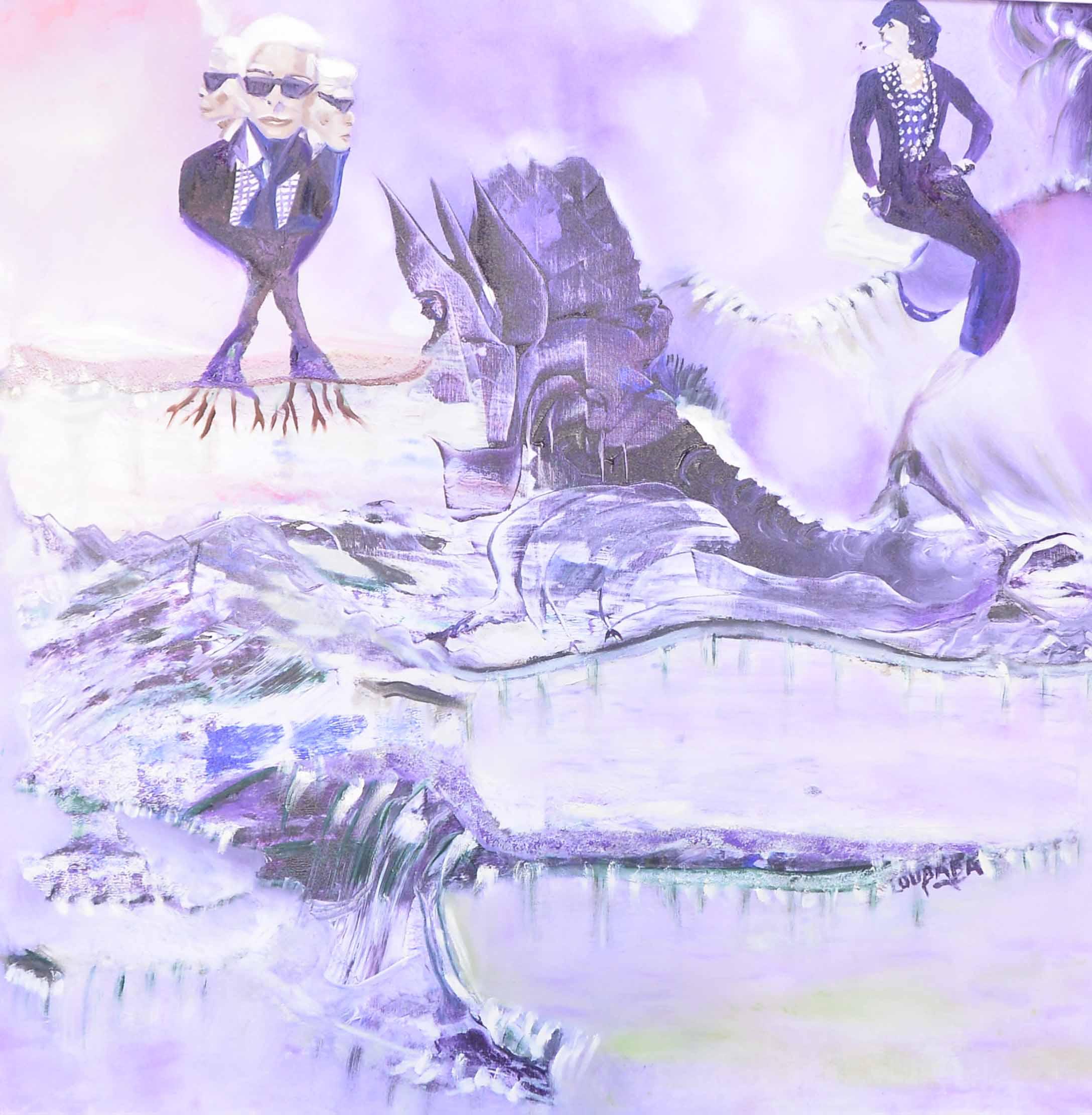الفنانة التشكيلية لبابة لعلج تكرم مسار  مصمم الأزياء العالمي الراحل كارل لاغرفيلد
