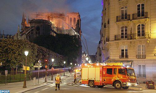 سفارة المغرب بفرنسا تعبر عن تعاطفها وتضامنها جراء حريق كاتدرائية (نوتردام دو باري)