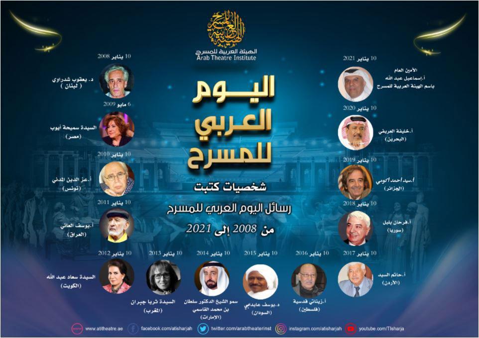 رسالة اليوم العربي للمسرح من 2008 إلى 2021